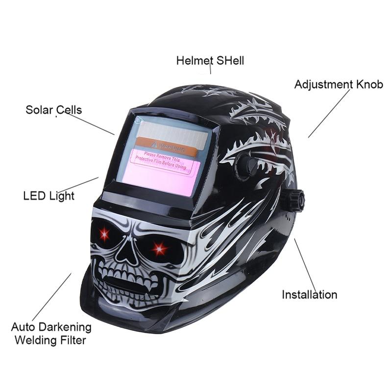 Tools : Efficient Solar Powered Auto Darkening Adjustable Range MIG MMA Electric Welding Mask Helmet Welding Lens for Welding Machine