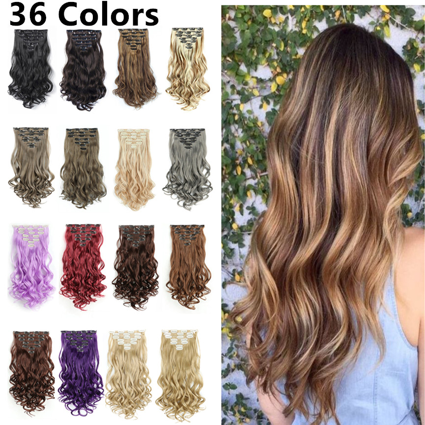 SHUOHAN 22 Inch Clip-in Synthetic Hair Piece Extension Wavy Clip In Heat Resistant Blonde Purple Winered Brown Grey Gray White