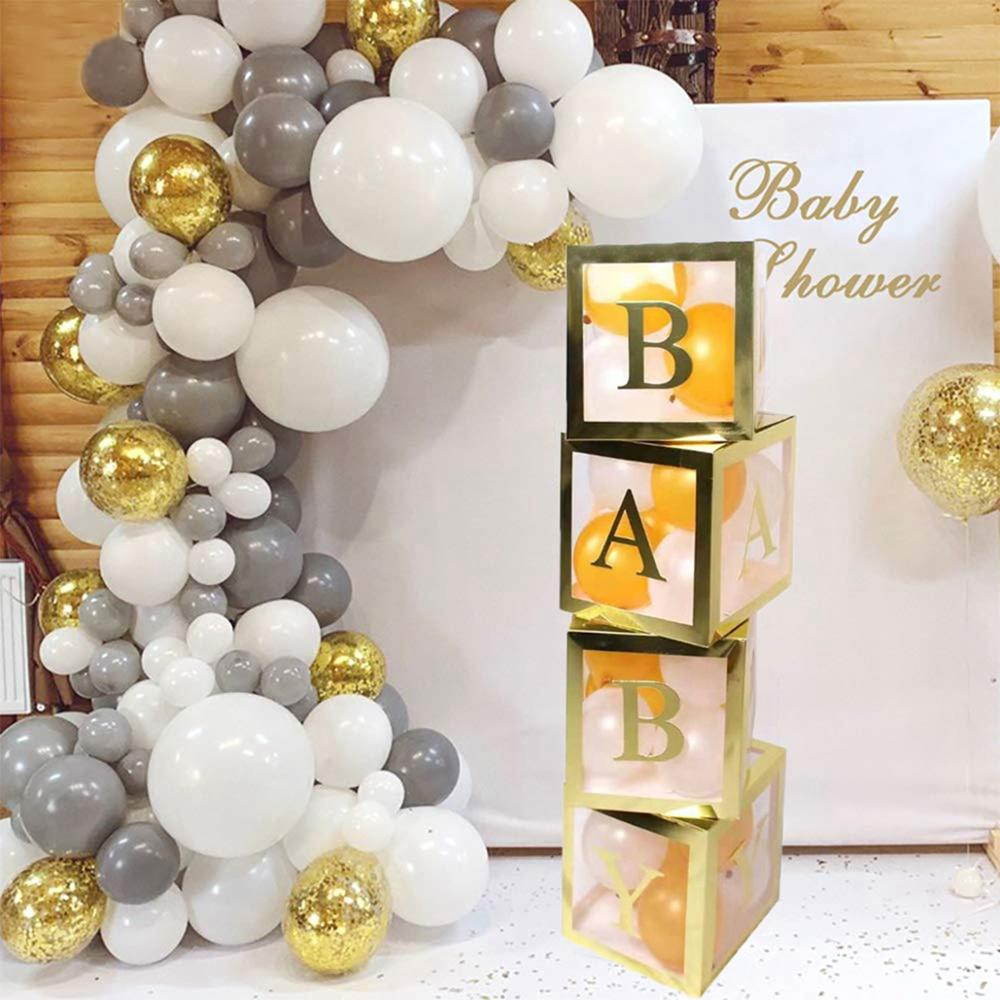 Taoup Transparent Balloons Box Name Box Baby Shower Decorations Baby 1st One Birthday Party Decors Kids Gift Babyshower Favors