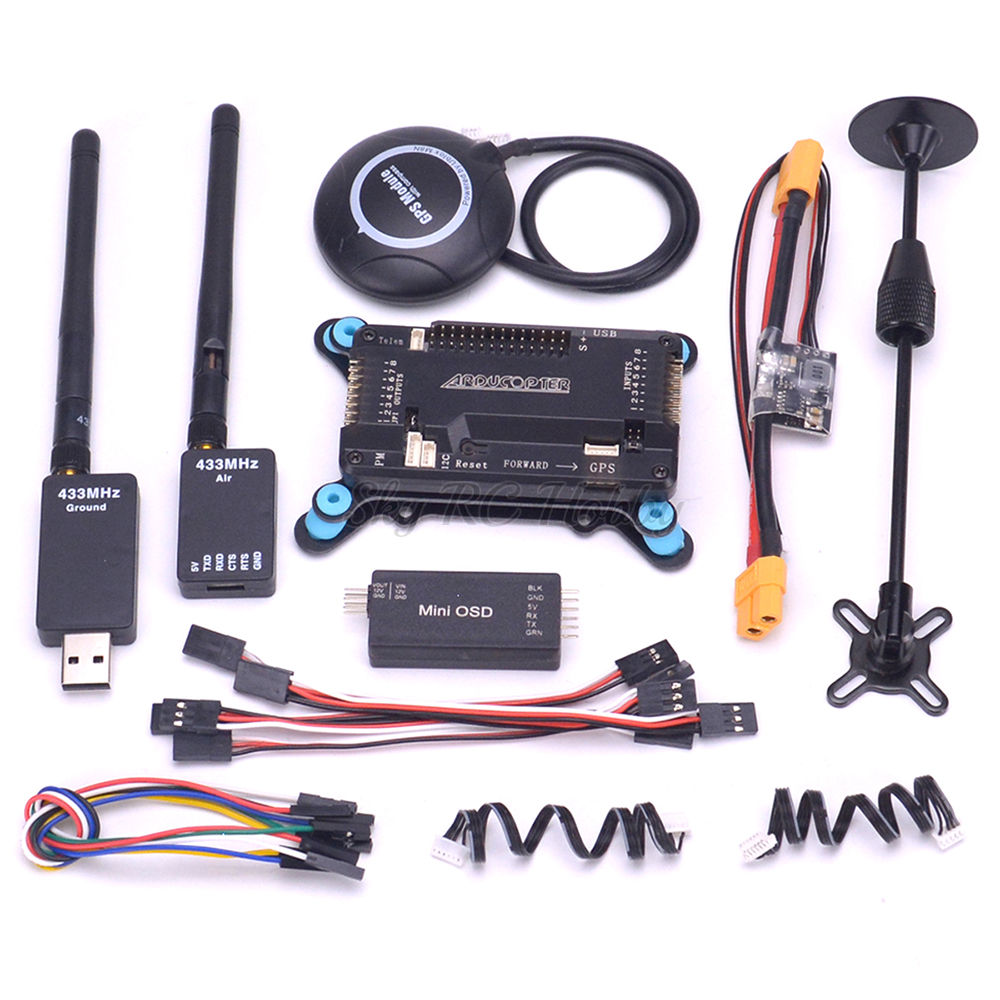 APM2.8 APM 2.8 Flight Controller Board W/ Shock Absorber M8N GPS With Compass Power Module Mini OSD Module 433 / 915 Telemetry