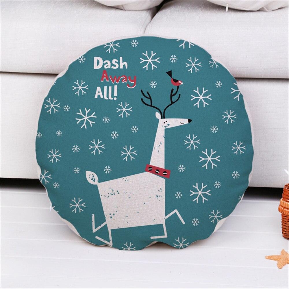 Round Decorative Throw Pillow Case Cover Animals Merry Christmas Cotton Linen Cushion Cover For Sofa Home Capa De Almofadas