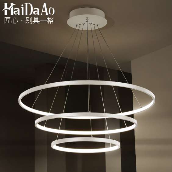 Simple Modern Led Aluminum Circle Pendatn Light Restaurant Living Room Bedroom Lamp Lighting Bed Ing Luminaire