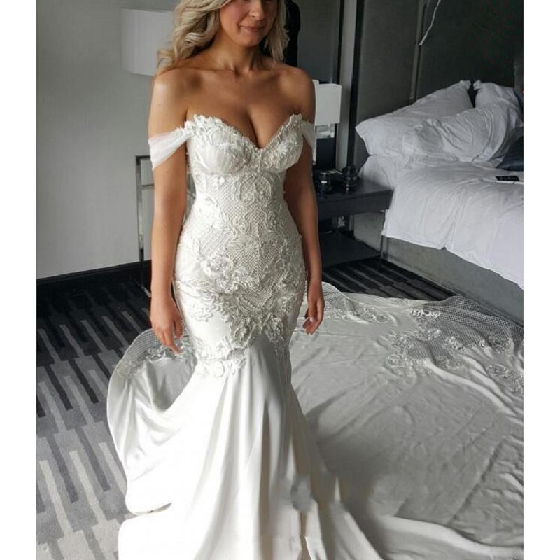 Robe De Mariee White Ivory Lace Wedding Dresses 2020 Off The Shoulder Mermaid Wedding Gowns Sweep Train Custom Made Bride Dress