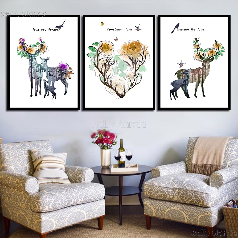 Home-Decoration-Prints-Painting-Nordic-Pictures-Deer-Flower-Letter-Wall-Art-Modular-Canvas-Poster-Modern-For (1)
