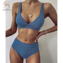 Sexy maiô feminino verão bandage bikini conjunto 2021 sólido cintura alta push up maiô banho maiô beachwear biquini