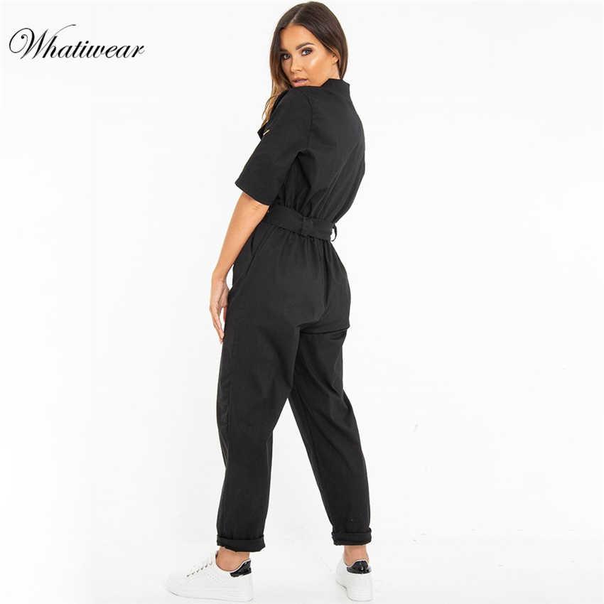 Whatiwear 2019 verano Patchwork Denim mono bolsillo Sexy bodycon verano jeans monos Casual moda Fiesta club