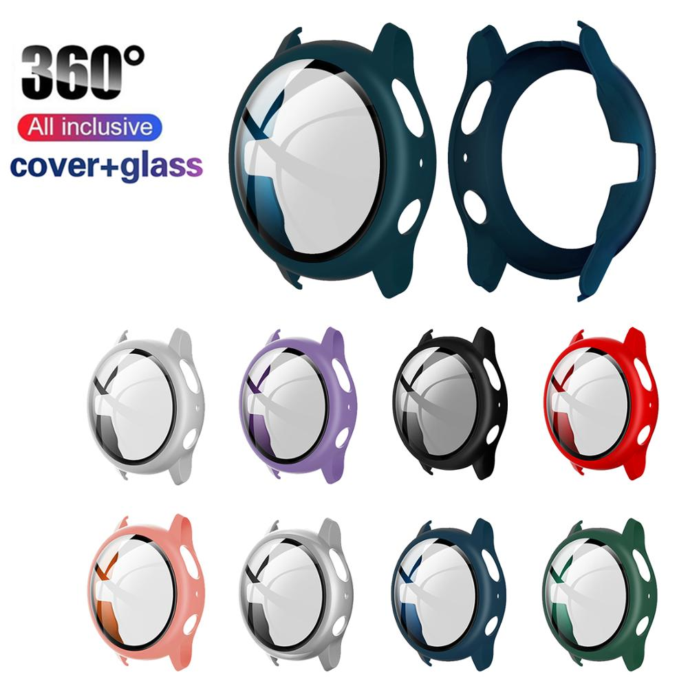<font><b>Glass</b></font>+Case For <font><b>Samsung</b></font> Galaxy watch active2 44/40mm All Around cover bumper Screen Protector for Galaxy watch active 2 44mm 40mm image