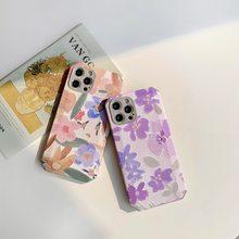 Floral roxo macio caso para iphone 11 max pro 12 8 7 plus xs xr 12 mini se 2020 à prova de choque flor pintura telefone caso capa
