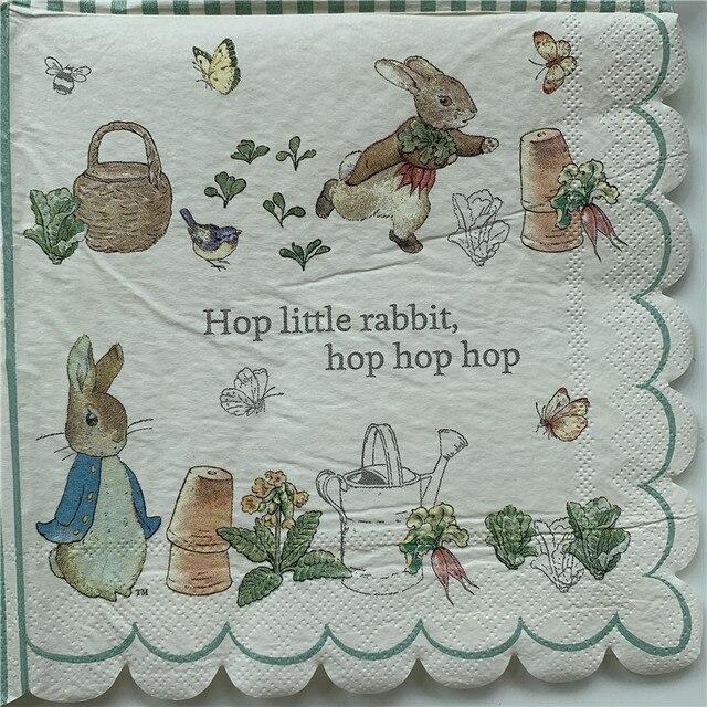 20 בציר מפיות נייר אלגנטי רקמות חמוד ארנב ברווז עציץ פרפר מגזרת נייר חתונת יום הולדת אריזות מפלגה דקור
