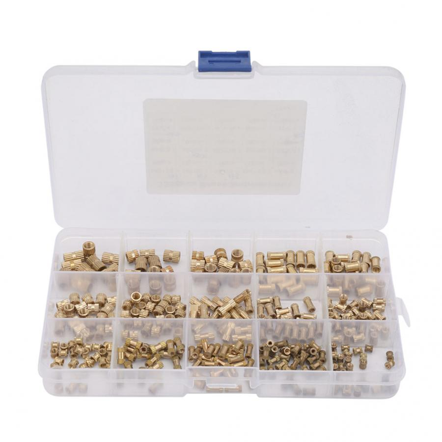 330pcs M2 M3 M4 M5 Brass Insert Nut Isolation Column Knurl Insert Nut Kit   wood screw and nut
