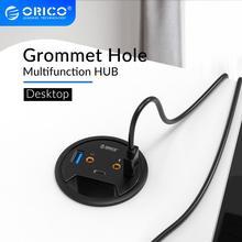 ORICO 데스크탑 그로멧 USB 3.0 허브 (헤드폰 마이크 포함) 포트 유형 C 허브 OTG 어댑터 분배기 (노트북 액세서리 용)