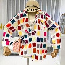 Women Long Sleeve Shirt Geometric Loose Moda Mujer 2019 Ropa Blusones De Largos Sueltos Designer Blouses Colorful fashion