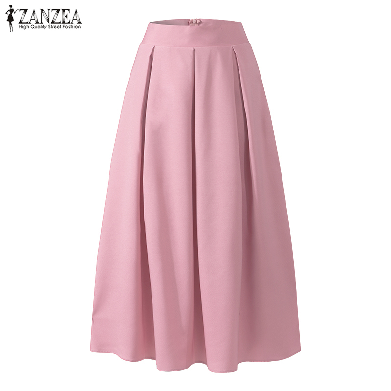 2021 lato jednolita plisowana spódnice ZANZEA elegancka praca OL długa spódnica kobiety dorywczo wysokiej talii długie spódnice Faldas Saia spódnica Jupe