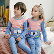 Pajamas-Sets Sleepwear Teenager-Suit Girl Boys Children's Cotton Cartoon Long-Sleeved