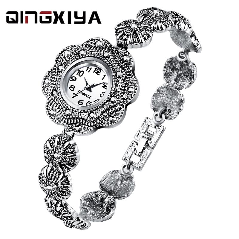 QINGXIYA Qualities Women Bracelet Watches Full Stainless Steel Fashion Luxury Crystal Watch Small Ladies Quartz Wristwatches