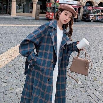 EACHIN Women Fashion Plaid Wool Double Breasted Coat Winter Thick Warm Turn-down Collar Pockets Streetwear Long Jacket Outwear