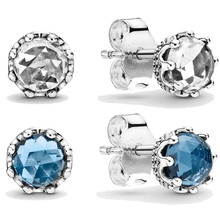 Authentic 925 Sterling Silver Earring Blue Sparkling Crown Stud Earrings With Crystal For W