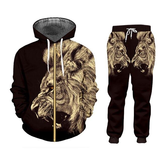 CJLM Casual Men's Tracksuit Hoodie Pants 3D Printing Two-piece Winter Jacket Men Loose Large Size Black Animal Lion Suit Sports 6