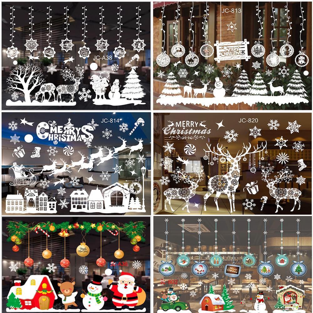 QIFU Merry Christmas Ornaments Window Stickers 2020 New Year Decorations Glass