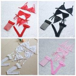 Женский модный комплект из четырех предметов, сексуальное женское белье, шифоновое нижнее белье, одежда для сна, бюстгальтер + стринги + Подв... 5