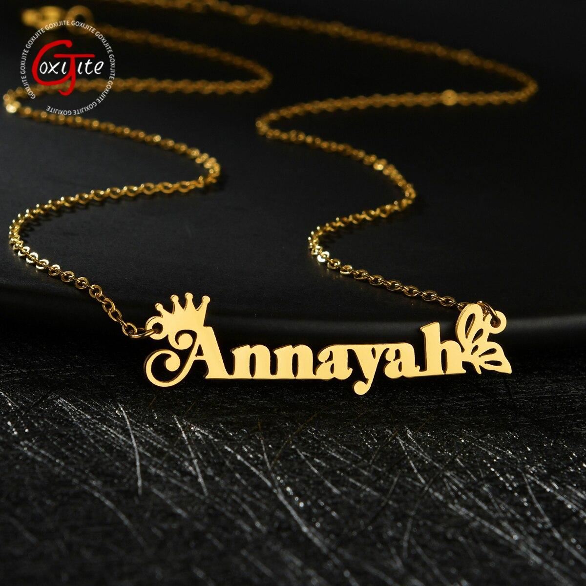 Goxijite персонализированные имя колье ожерелье для женщин из нержавеющей стали бабочка с принтом в виде короны и надписи, название подвеска ож...
