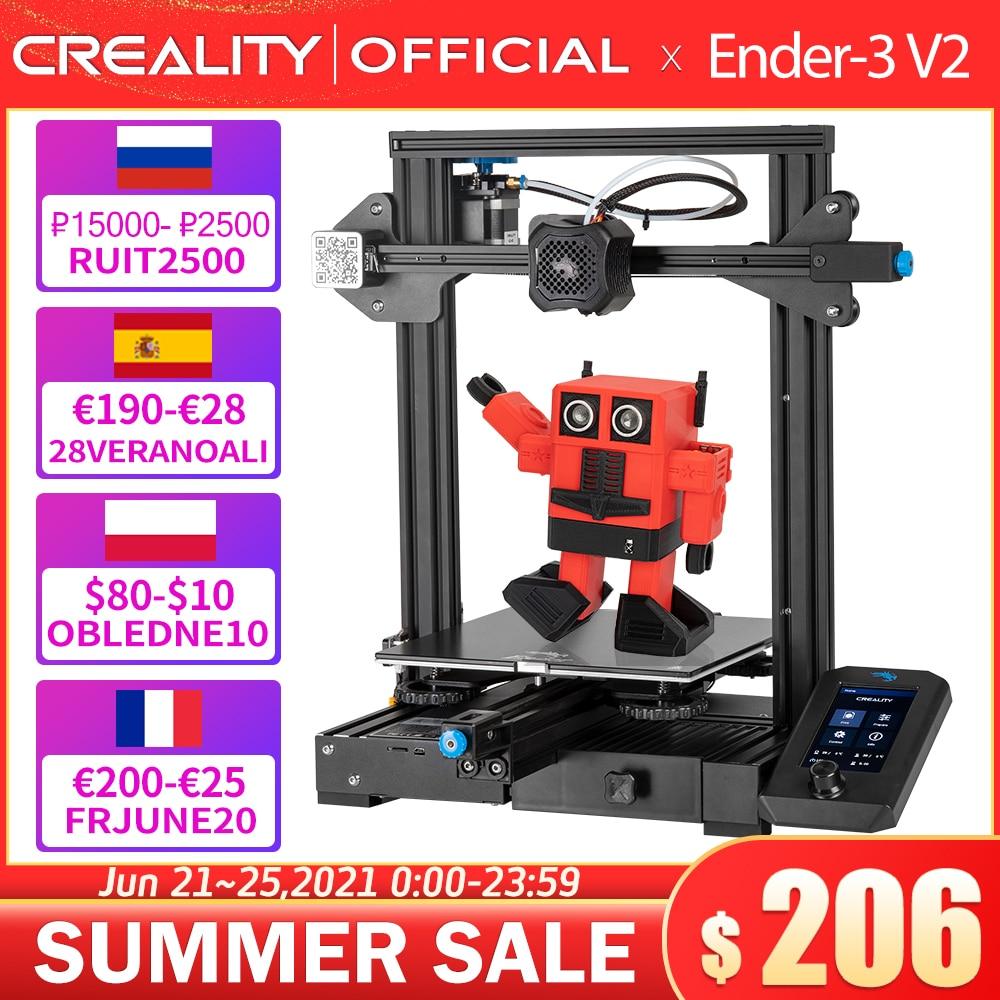Материнская плата CREALITY 3D Ender-3 V2 с бесшумными шаговыми драйверами TMC2208, новый пользовательский интерфейс и цветной ЖК-дисплей 4,3 дюйма, карбор...