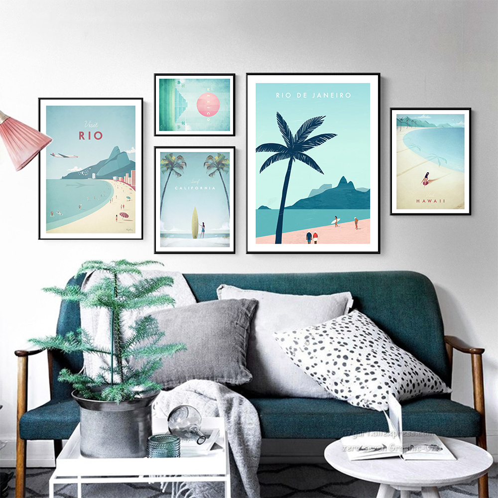 Travel Poster HD Prints Rio Janeiro Canvas Poster Hawaii Mexico California Print Wall Picture Nordic Decor Painting Modern Decor