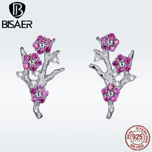 BISAER 925 Sterling Silver Clear CZ Winter Flower Chinese Plum Blossom Stud Earrings for Women Luxury Argent 2019 Bijoux GAE040