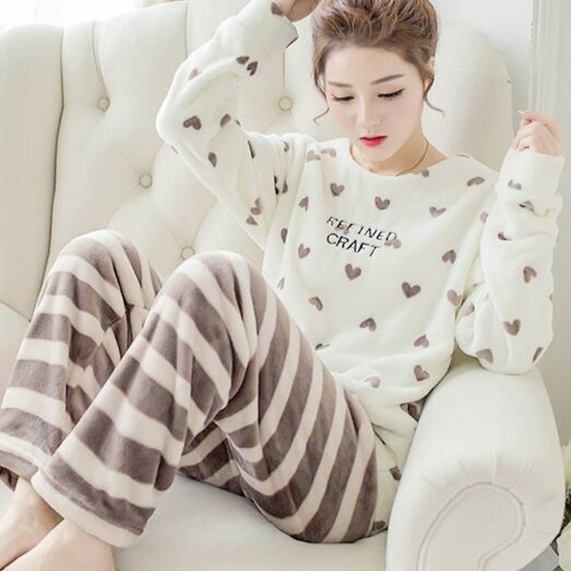 High Quality Women Pajama Sets Winter Soft Thicken Cute Cartoon Flannel Sleepwear 2 pcs/Set Tops + Warm Pants Home Clothes Mujer 78
