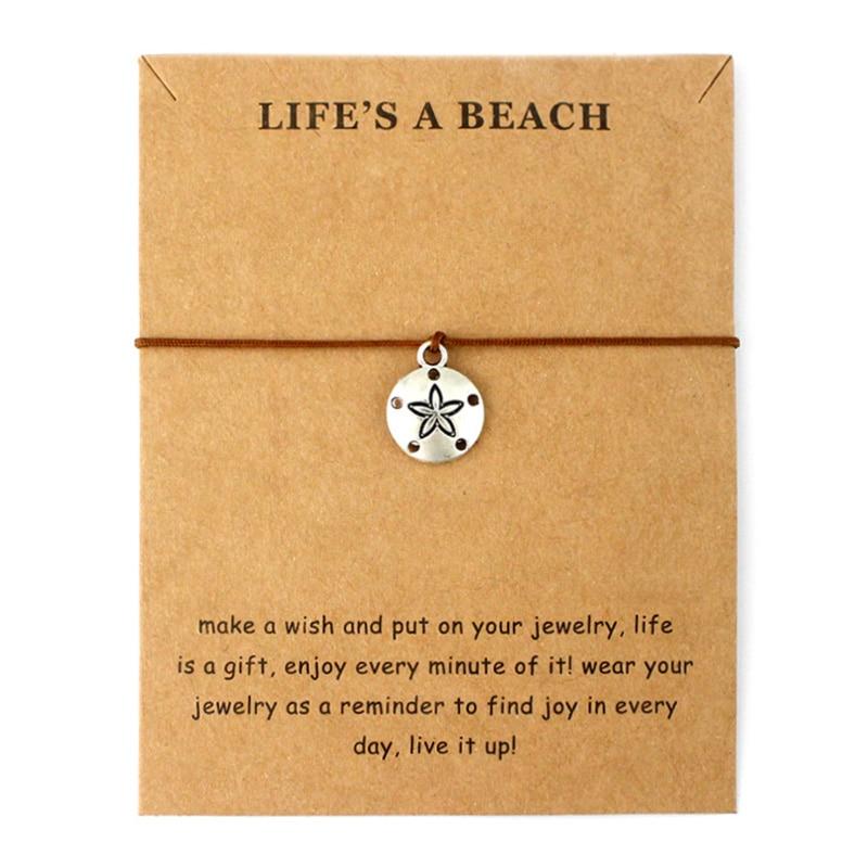 Sand Dollar Seahorse Whale Tail Ocean Charms Adjustable Bracelets Women Men Unisex Love Best Friends Fashion Jewelry Summer Gift