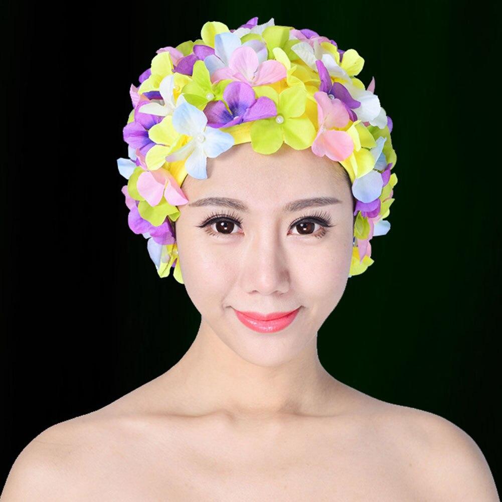 Women Girls Swimming Hat Cap  Lady Nylon Elastic Women Flower Swim Hat Bath cap