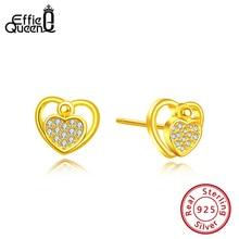 Effie Queen 925 Sterling Silver Stud Earrings Heart Shaped Love Earring For Women AAAA Zircon Jewelry Wedding BE176