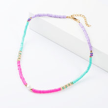 2019 Boho Style Polymer Polymerclay Pearl Clay Beads Fimo Slices Handmade Necklace Rainbow Plastic Thin Disc Choker Jewelry(China)