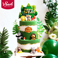 Animals Giraffe Lion Fox Decoration Monkey Cake Toppers for Children's Day Party Baby Happy Birthday Supplies Lovely Gifts