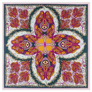 Image 3 - 2020 ビッグスクエアシルクレディース高級ブランドツイルスカーフショール蝶プリント卸売 130*130 センチメートル冬のスカーフの女性