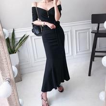Solid Korean Summer Dress 2019 Women Modis Streetwear Casual Black V-neck Corset Ruffles Trumpet Long Plus Size Robe