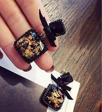 New Retro Wild Black Square Stone Bow Earrings Women Accessories Boucles Doreilles Pour Les Femmes Statement Brincos