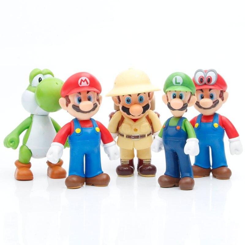 Высота каблука 10 см Супер Марио 5 шт./компл. аниме модель куклы Братья Марио и Луиджи Йоши трансформаторы приобретаемые форму игрушки фигуро...