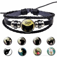BOO! Halloween Black Cat Bracelet Handmade Glass Cabochon Trick or Treat Cute Kitten Mens Cool Punk Leather Jewelry
