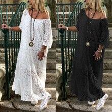 ZANZEA – Robe maxi en dentelle pour femme, vêtement crochet long et ample, manches 3/4, style bohème décontracté, pour l'automne et l'été