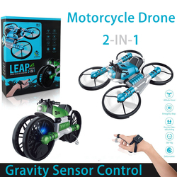 WIFI FPV RC Drone Motorcycle 2In 1 Foldable Helicopter Camera 0.3mp Altitude Hold RC Quadcopter Motorcycle Drone 15.1x17.1x6.6cm