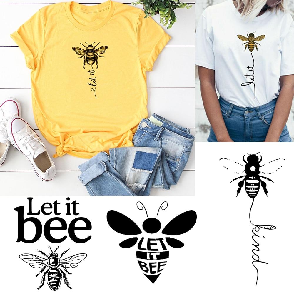 Honeybee Women T-shirt Let It Bee Graphic Short Sleeve Shirts Female Camisas Mujer Ropa Aesthetics Vintage Top Korean Harajuku