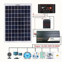 12V/24V Solar Panel System 18V 20W Solar Panel 40A/50A/60A Charge Controller 1000W Solar Inverter Kit Complete Power Generation