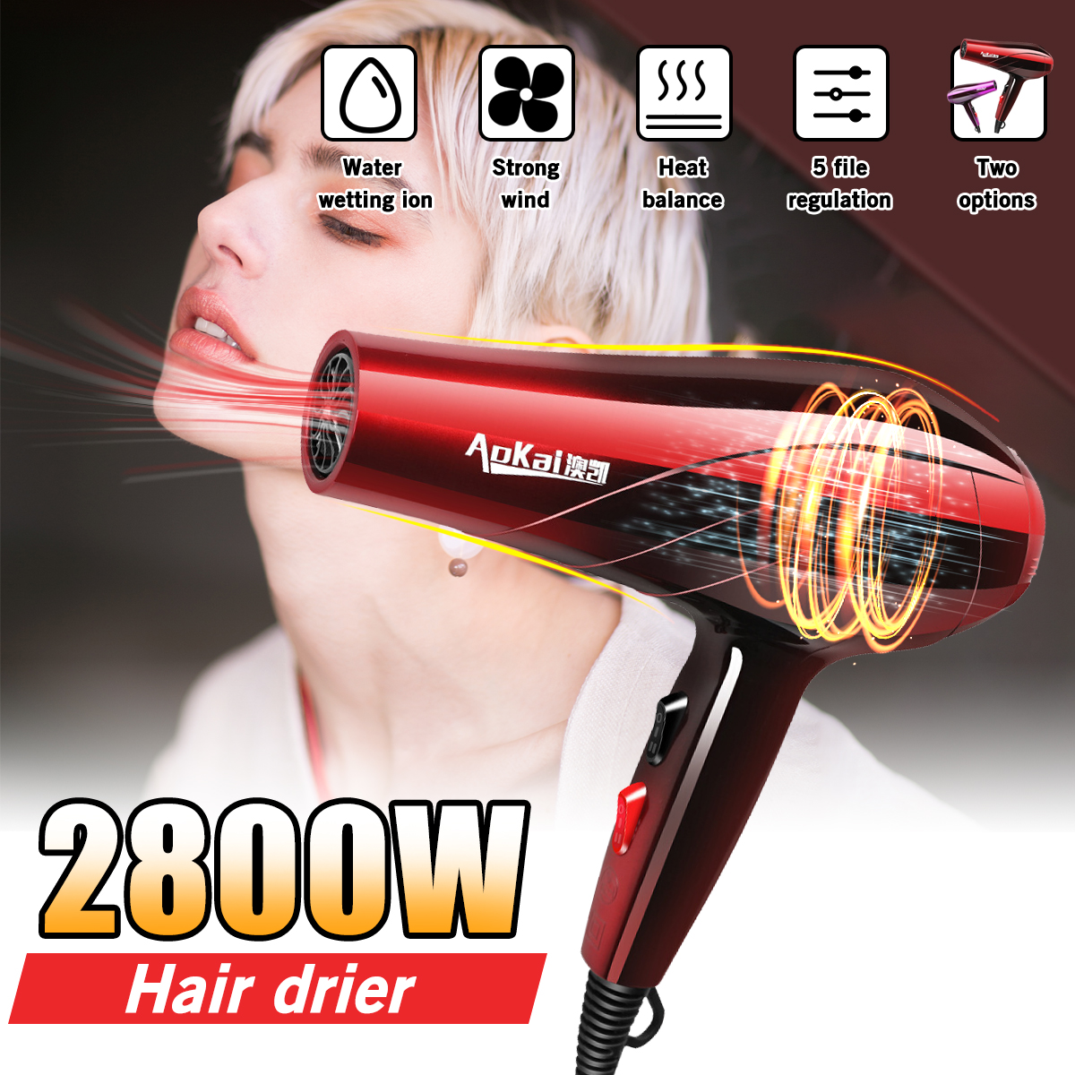 Electric Hair Dryer Hot Cold Wind 2800W Professional Salon Household Hairdressing Blow Hair Dryer Detachable Air Inlet AC Motor