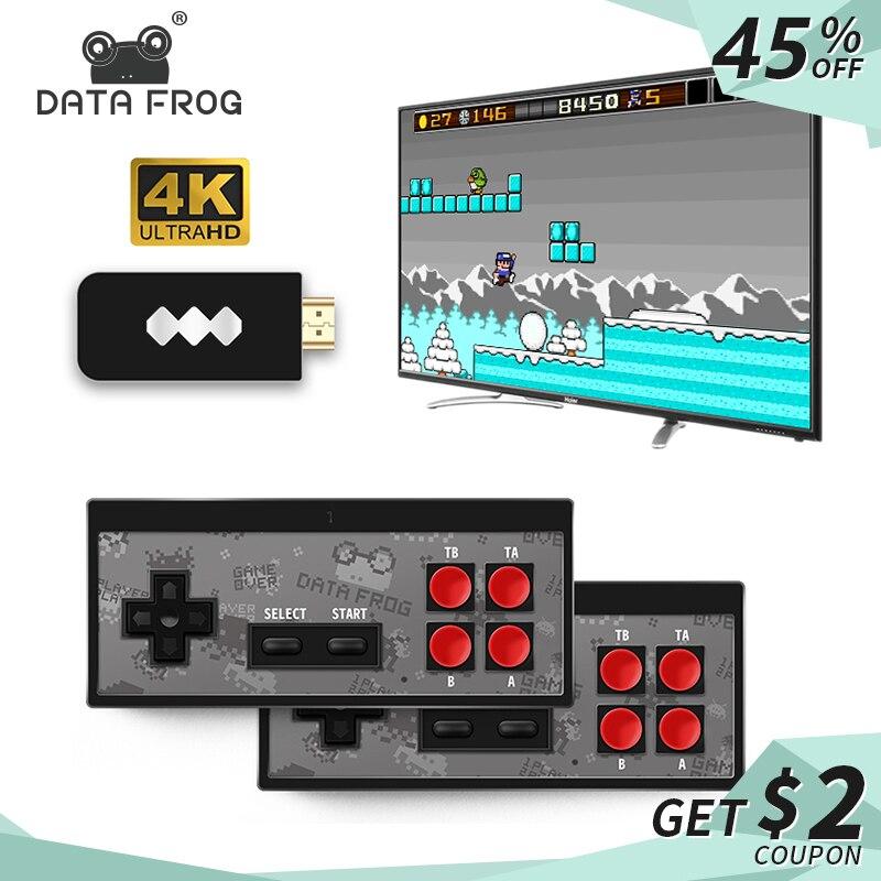 Dados USB Sapo Handheld Consola TV Jogo de Vídeo Sem Fio Construir Em 600 Jogo Clássico 8 Bit Mini Console De Vídeo Suporte saída AV/HDMI