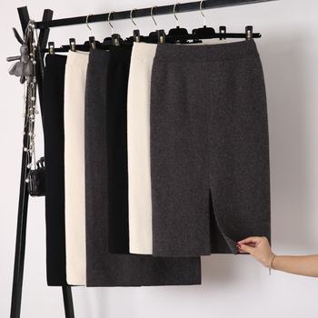 Winter Thickening Wool Blend Split Mid Knitted Skirt Cashmere Warm Hip Slim Mid-calf Knit Skirts 2 Length 4 Colors 3