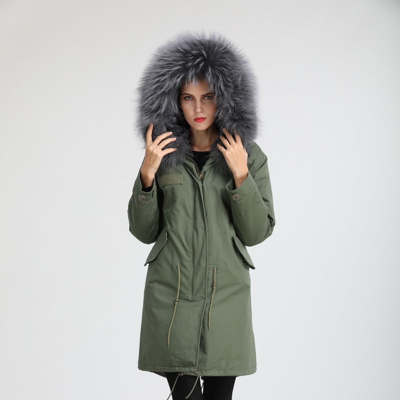 Women Style Army-green Long Parka Very Slim Faux Fur Lining Coat Suitable Waist Can Be Adjustable Real Raccoon Fur Collar Warm