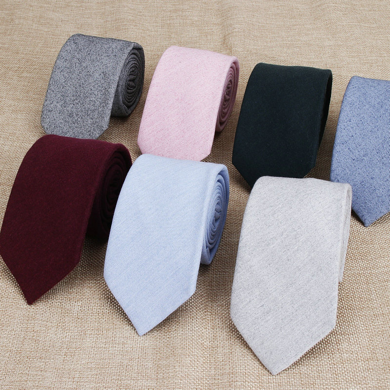 Cotton Ties Men's Solid Color Tie Narrow Necktie Slim Skinny Cravate Narrow Thick Neckties For Man Red Blue Black Ties Bowknot