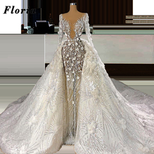 Detachable Skirt Brides-Dresses Beaded Bridal-Gowns Long-Sleeves Glitter Dubai No Kaftans