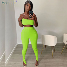 HAOYUAN Sexy Two Piece Set Summer Clothes for Women Tracksuit Crop Top